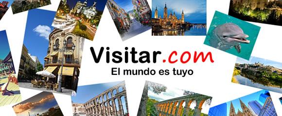 Logotipo de Visitar.com con fotos de diferentes ciudades alrededor