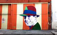 Un mural de Carlos Gardel unos de los mas famosos del tango argentino